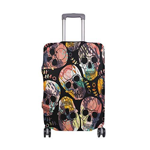 Funda protectora para maleta de viaje con patrón de calavera, de elastano, para adultos, mujeres, hombres, adolescentes y adultos, de 18 a 20 pulgadas