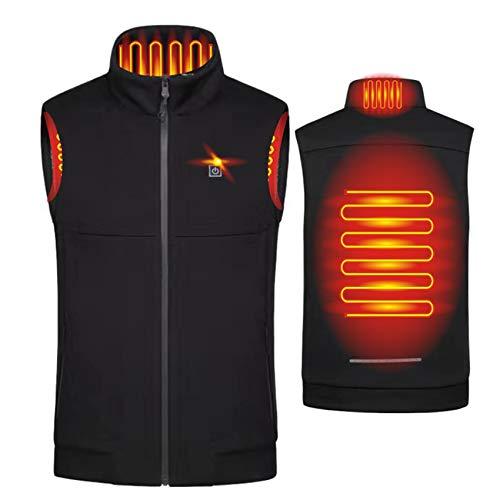 Yeah-hhi Chaleco caliente inteligente hombre USB Electirc 2 zonas calefacción invierno al aire libre caliente chaqueta para acampar senderismo caza,B ,L