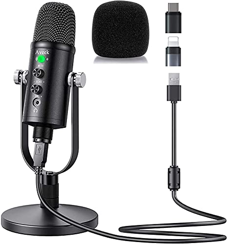 Aveek Microphone USB à Condensateur Compatible avec PC/Portable/Smartphone avec Suppression du Bruit et Réverbération pour Enregistrement Vocal et Musical, Podcasting, Streaming, Gaming