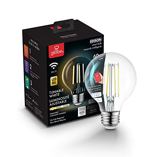Globe Electric Globe Smart Collection Wi-Fi 5.5W Straight Filament Tunable LED Light Bulb, No Hub Required, Voice Activated, 2000K-5000K, Vintage Edison Style, G25 Shape, E26 Base 34920, G25, Clear