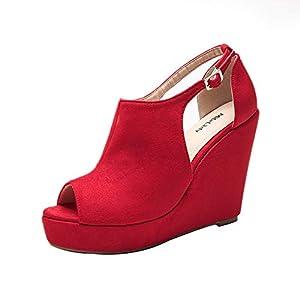 Mila Lady Lisa 2 Women's Platform Wedges Cutout Side Straps, Peep-Toe Ankle Bootie, Heeled Sandal. RED7