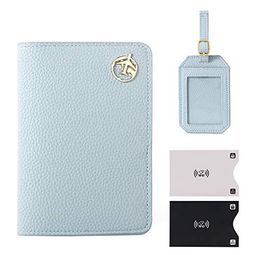 Passport Holder Cover, Lychii PU Leather Travel Wallet Case Organiser for Passport, Business Cards, Credit Cards, Boarding Passes (Blue(Wallet+Tag))