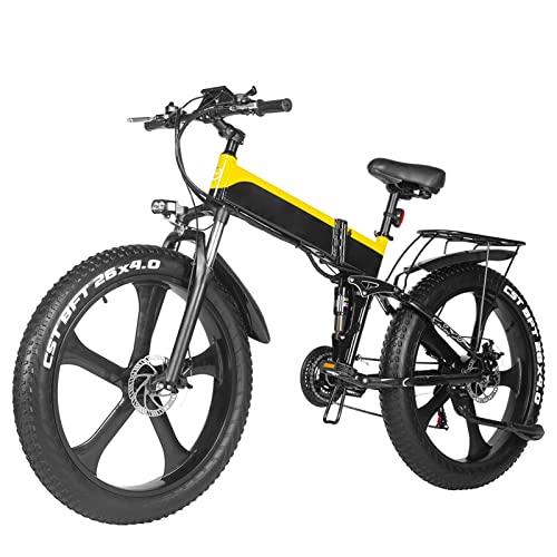 Liu Yu·casa creativa Bicicleta eléctrica Plegable de 1000 W para Adultos, neumático de 26', 25 mph, batería de Litio extraíble, Bicicleta eléctrica Plegable de montaña con Doble Choque
