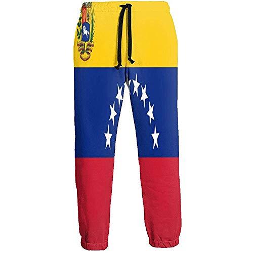 Emild Pantalones de chándal para Hombre Pantalón de chándal Suave con Bandera de Venezuela Pantalones Deportivos con Cintura con cordón