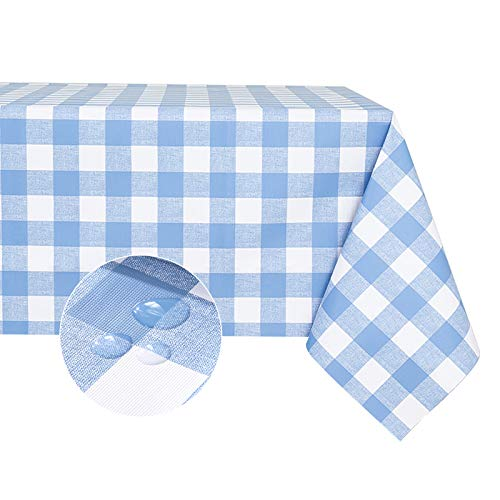 Checkered Vinyl Rectangle Tablecloth – 100% Waterproof Oil Proof PVC Square Table Cloth, Heavy Duty Wipeable Table Covers for Dining/Parties/Holiday/Indoor/Outdoor (54x54 inch, Light Blue)