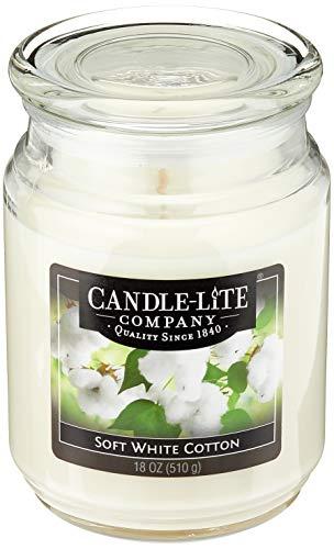 Candle-lite - Duftkerze im Glas, Soft Cotton Sheets 510g, Weiß, 10 x 10 x 14.5 cm
