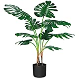 CROSOFMI Plantas Artificiales Grande Decorativas Monstera Palmera Artificial Modernos Hogar Decoracion Salon Dormitorio con Balcón Hawaiana Fiesta Tropical Decorativas(1 PACK)