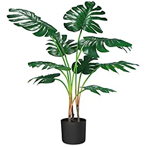 """Silk Flower Arrangements CROSOFMI Artificial Monstera Deliciosa Plant 37"""" Fake Tropical Palm Tree, Perfect Faux Swiss Cheese Plants in Pot for Indoor Outdoor House Home Office Garden Modern Decoration Housewarming Gift,1 Pack"""