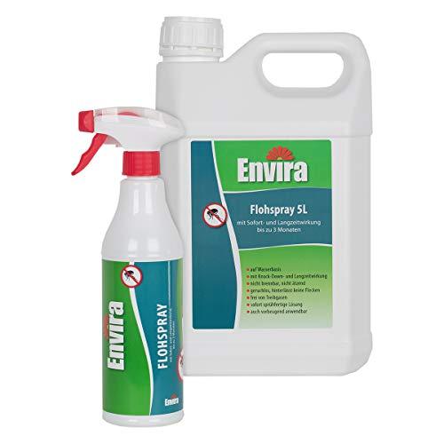 Envira Floh-Spray - Anti-Floh-Mittel Mit Langzeitwirkung - Geruchlos & Auf Wasserbasis - 500 ml + 5 Liter