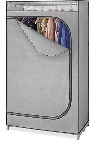 Whitmor Portable Wardrobe Clothes Storage Organizer Closet with Hanging Rack – For Home, Dorm, Garage etc. – Grey Color – No-tool Assembly–Extra Strong & Durable -19.75 x 36 x 64 – Not for outside use