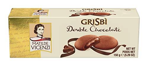 Matilde Vicenzi Grisbi Double Chocolate - Italienisches Mürbeteiggebäckmit samtiger Cremefüllung, 14er Pack (14 x 150 g)