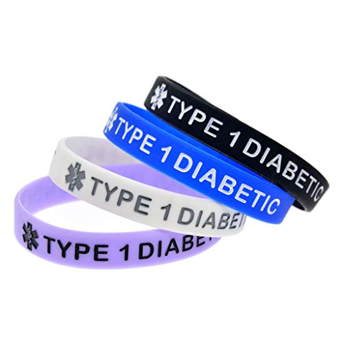 foshan Cgration 4 Colors Type 1 Diabetic Insulin Dependent Alert ID Silicone Bracelet Wristband Adjustable Jewelry