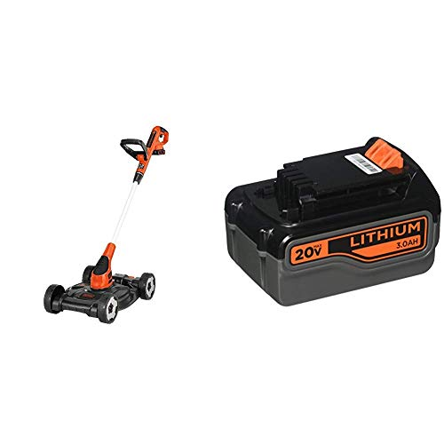 BLACK+DECKER 3-in-1 Lawn Mower with Extra Lithium Battery 3.0 Amp Hour (MTC220 & LB2X3020-OPE)