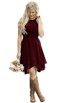 Andybridal Women's Country High Low Halter Chiffon Bridesmaid Dress Western Wedding Guest Dress Burgundy 10