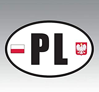 RDW Poland Oval Sticker - Die Cut - Decal - PL v6 Country Code Euro - Size: 4.99