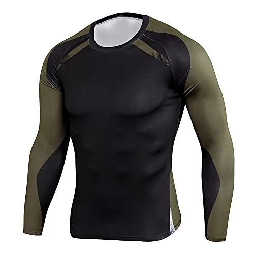 LuckyGirls Camiseta de compresión de Mangas Larga para Hombre Deportes de Secado Rápido Funcionamiento Baselayer-Fitness con estampado de rayas de verano