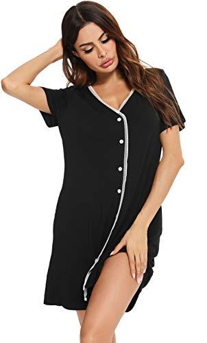 Vlazom Damen Nachthemd Damen Schlafanzug Pyjama Sommer Nachtwäsche Umstandskleidung Damen Geburt Stillnachthemd mit Durchgehender Knopfleiste