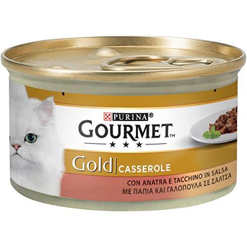 Purina Gourmet Gold Umido Gatto Casserole con Anatra e Tacchino in Salsa, 24 Lattine da 85 g Ciascuna, Confezione da 24 x 85 g