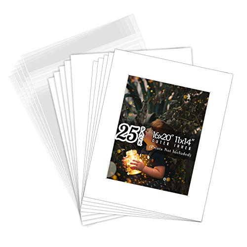Golden State Art, White Pre-Cut 16x20 Picture Mat for 11x14 Photo with White Core Bevel Cut Mattes Sets. Includes High Premier Acid Free Mats & Backing Board & Clear Bags (25 Kit)