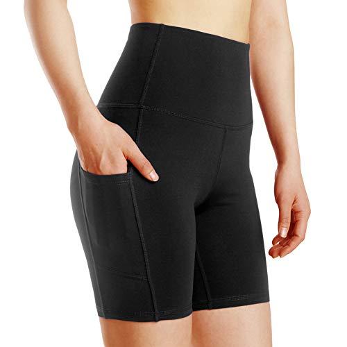 Damen Leggings Yogahosen Sporthose Tights Laufhose High Waist mit Taschen Dehnbar Jogginghose Yoga Sport Fitness Laufen(Schwarz,S)