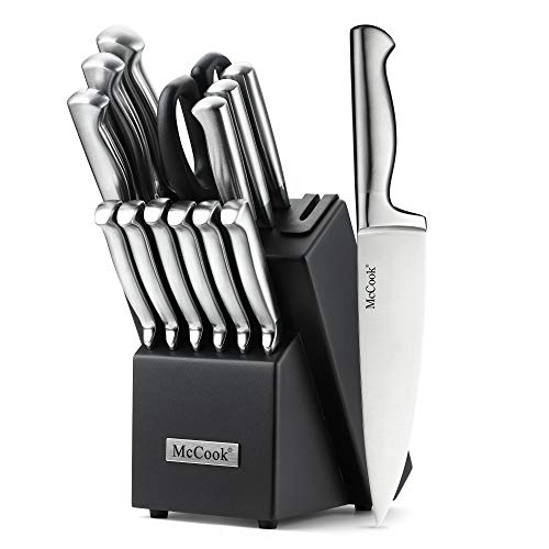 McCook MC21 Knife Sets,15 Pieces German Stainless Steel Kitchen Knife Block Sets with Built-in Sharpener