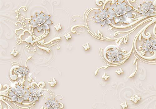 wandmotiv24 Fototapete 3D Effekt Blumen Ornamente Gold, XXL 400 x 280 cm - 8 Teile, Fototapeten, Wandbild, Motivtapeten, Vlies-Tapeten, Abstrakt Blüten M6098