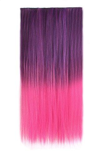 MapofBeauty 24 Pouce/60cm Paquet de 2 Multicolore Cheveux Extensions Ladies 5 Clip Longue Droit Postiche (Rose Rouge/Sombre Violet)