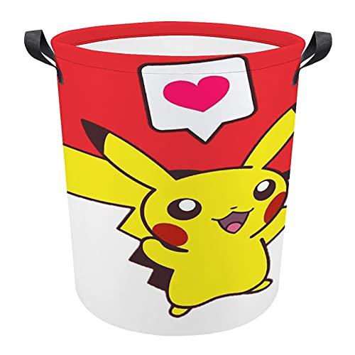 Cesta de lavandería de lona plegable Pokemon con asa, gran capacidad de almacenamiento para ropa, juguetes, dormitorio de los niños