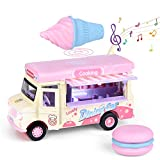 FUN LITTLE TOYS Ice Cream Pull Back Truck with Light and Sounds, Metal Diecast Cars for Toddler, Play Food Trucks for Girls, Pink