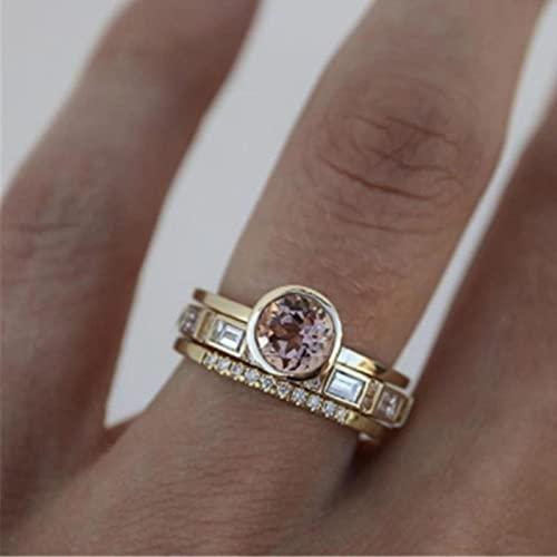 DOOLY Anillos de Cristal Rosa de 3 uds para Mujer, Anillo de Boda de Color Oro Amarillo a la Moda para Mujer, 2021, Accesorios para Regalos de joyería