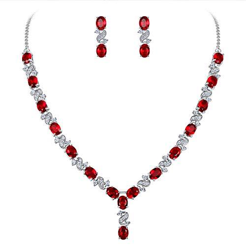 Clearine Parure Délicat Femme Forme-Y Bijoux Mariage Élégant Collier Boucles d'oreilles Pendant Ensemble Zircon Zirconium Rouge Rubis