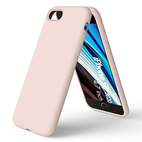 ORNARTO Coque Nouveau iPhone SE/7/8 en Silicone, Protection Complète du Corps, Liquid Silicone Cover Protection Bumper Anti-Choc Housse Étui pour Apple iPhone Se(2020) 4,7 -Rose des sables