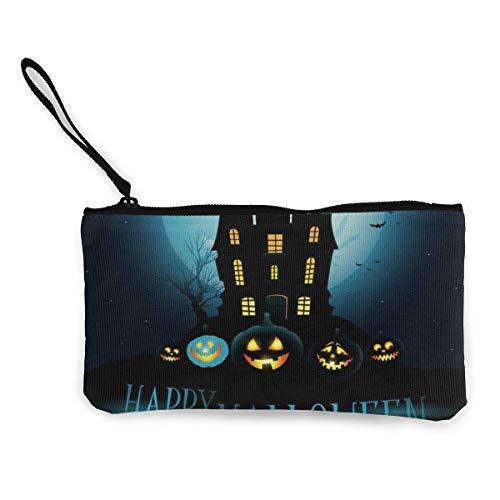 Yuanmeiju Happy Halloween Fledermäuse Laternen niedlichen Leinwand ändern Münze Brieftasche Tasche Tasche Reißverschluss Halter Geldbörse Handgelenk Riemen Make-up Bleistift Fall angepasst
