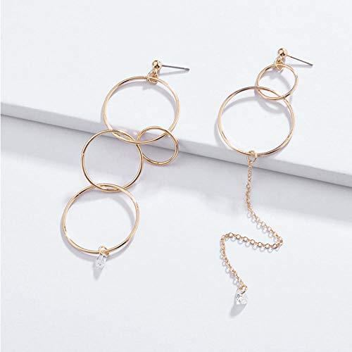 Empty Multi Copper Circles Linked Women Pendientes asimétricos Rhinestones Hoop Stud Pendientes para Mujer