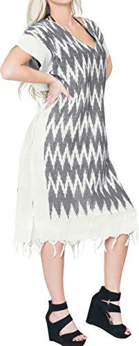 LA LEELA Mujeres caftán Algodón túnica Impreso Kimono Libre tamaño Largo Maxi Vestido de Fiesta para Loungewear Vacaciones Ropa de Dormir Playa Todos los días Cubrir Vestidos Gris_X852