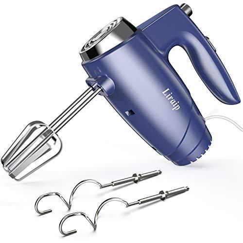 Liraip Handmixer,5 Geschwindigkeiten Elektrischer Mixer Handrührer zum Backen von Kuchen Eiercreme Food Beater, Brownies, Kuchen und Teig mit 4 Zubehörteilen (blau)