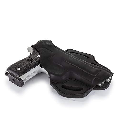 1791 - Beretta 92fs Thumb Break Holster - Right Handed OWB Leather Gun Holster - Fits Beretta 92FS, 90TWO, M9 / CZ 75,75b P07, P10, SP-01, P09 (BHX-4) (Stealth Black)