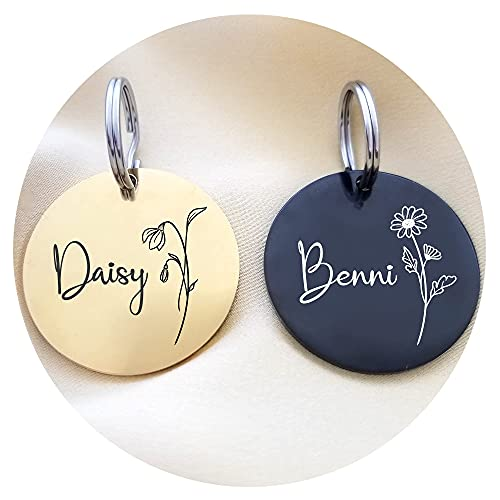 Birth Flower Pet Tag, Birth Flower Cat Tag, Birth Flower Dog Tag, Personalized Pet Tag, Stainless Steel Pet ID, Engraved Tag, Gold/Rose Gold/Silver/Black (Included split rings)