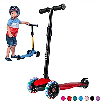 Kick Scooter for Kids Boys Girls 3 Wheel Scooter for Toddler for 2-5 Years Old Adjustable Height Light Up Flashing Wheels Removable Handlebar Lean to Steer Easy to Carry  Red