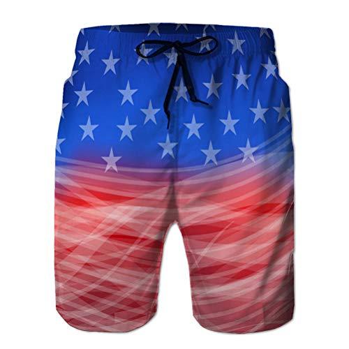 LJKHas232 142 Pantalones Cortos para Hombres, bañador, Pantalones Casuales Resumen Bandera Americana para Feliz TH