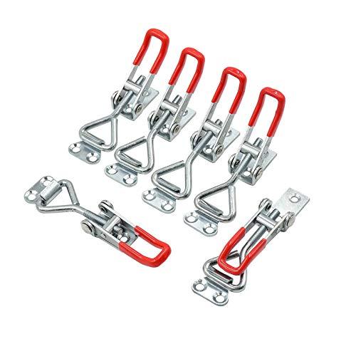 6 tensores de palanca de hierro galvanizado, cierre de palanca con hebilla ajustable para armario, puerta, caja, sin bloqueo o mango roto.