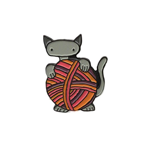 cat with yarn enamel pin