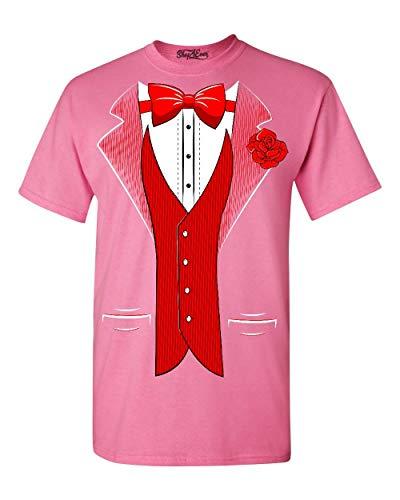 Shop4ever Classic - Camiseta de esmoquin con rosa roja para fiesta - Rosa - Large