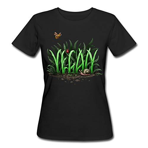 Vegan Grashalme Typographie Frauen Bio-T-Shirt, L, Schwarz