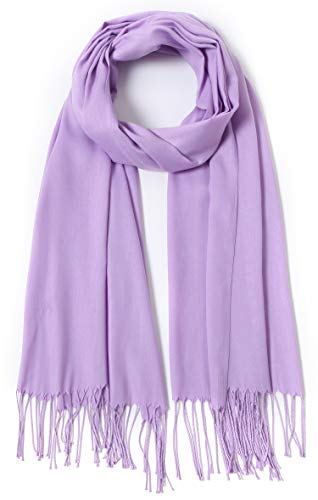 Pashmina Shawls and Wraps Large Scarfs for Women Wedding Party Bridal Long Fashion Solid Shawl Wrap with Fringes (lavender)