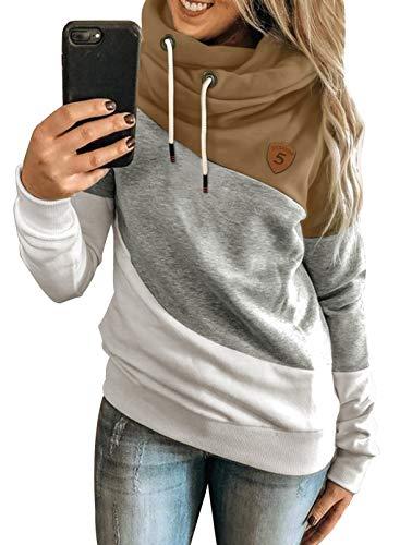 HAPPY SAILED Damen Warm Rollkragen Kapuzenpullover Farbblock Pullover Sweatshirt Casual Hoodie Shirt S-XXXL (1mehrfarbig, XXXL, 3X_l)