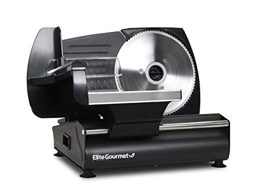 """Elite Gourmet Ultimate Precision Electric Deli Food Meat Slicer Removable Stainless Steel Blade, Adjustable Thickness, Ideal for Cold Cuts, Hard Cheese, Vegetables & Bread, 7.5"""", Black"""