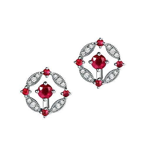 AMDXD Pendientes de oro blanco de 18 quilates, flor con rubí redondo de 0,56 quilates, joyería de boda, pendientes de mujer, hipoalergénicos, regalo de fiesta de cumpleaños con exquisita caja.