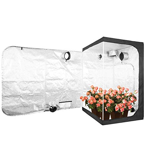 "JT Jupetory Grow Tent 48""x48""x80"" 4x4 Mylar Hydroponic Growing Tent with Removable Floor Tray for Indoor Plant Growing Garden Growing Vegetable Indoor Plant Dark Room 4'x4' 4x4 (120x120x200 cm)"
