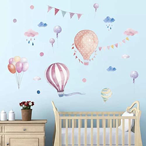 WandSticker4U- Wandtattoo Babyzimmer Wolken und HEIßLUFTBALLON Aquarell I Wandbilder: 170x70 cm I Wandaufkleber Regen Ballons Punkte rosa blau I Deko für Kinderzimmer Baby Mädchen Junge